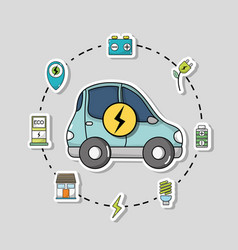 Electric car with battery recharge technology vector