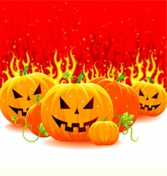 fire with pumpkins vector image