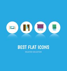 flat icon window set of cloud balcony glazing vector image