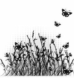 Grass silhouette black summer background vector