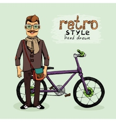 Hipster with bike vector