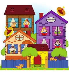 Home with children in windows vector