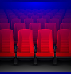 Movie theater with rows of red empty chairs and vector