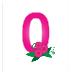 Number zero with floral vector image