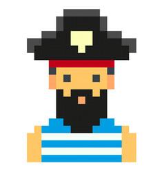 pixel art pirates art cartoon retro game style set vector image
