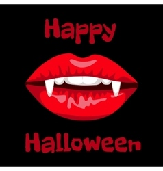 red lips of vampire vector image