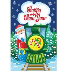 Santa and train vector