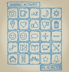 Sharing activity icon doodle set vector