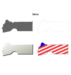 Sierra county california outline map set vector