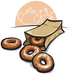 Sweet donuts with powder vector image vector image