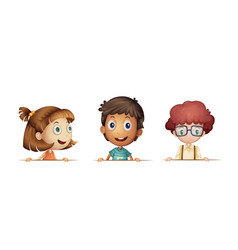three children with happy face vector image