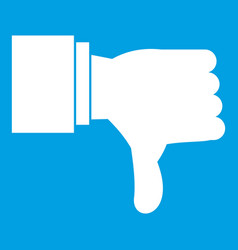 Thumb down gesture icon white vector