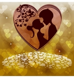Two lovers on a hearts background vector