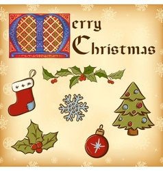Vintage Christmas New Year elements vector image