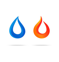 Water swirl fire flame gradient logo couple vector