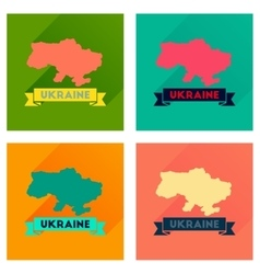 Concept flat icons with long shadow map of ukraine vector