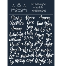 Hand lettering set of words for winter holidays vector