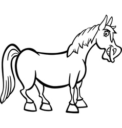 Farm horse cartoon for coloring book vector