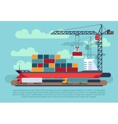 Transport cargo sea ship loading containers by vector