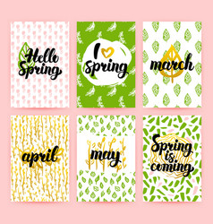 Spring greetings trendy brochures vector