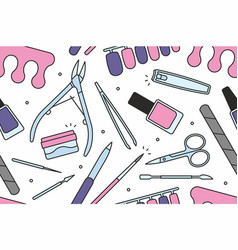 Manicure tools seamless pattern vector