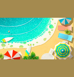 Wavy sea and coast with lounges vector