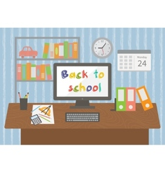 Back to school pupil room interior vector