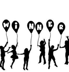 Winner concept with children silhouettes and vector