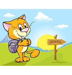 Landscape with cat and directional signs - the way vector