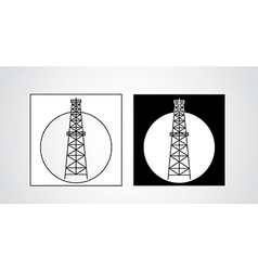 Black and white oil rigs vector