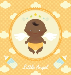 Cute Angel African Baby with Milk Bottle vector image