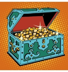 Treasure chest with golden coins vector