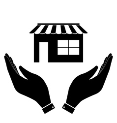 Shop in hand icon vector