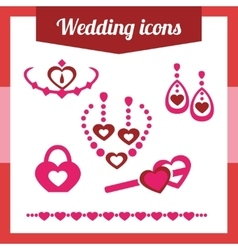 Set red wedding icons jewelry earrings vector