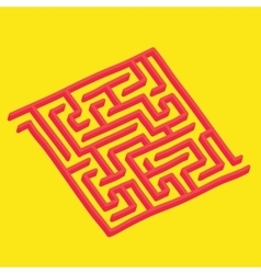 Isometric labyrinth on yellow vector