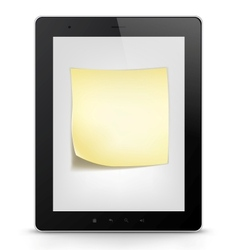 Tablet pc with paper note vector