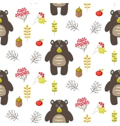 Bear in woods cartoon white seamless pattern vector image vector image