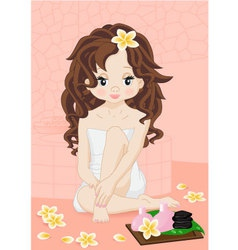 brunette girl in spa vector image vector image