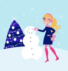 building winter snowman vector image vector image