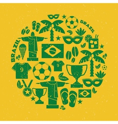 Flat design green and yellow brazil icons set vector