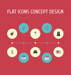 Flat icons awareness holiday soldier helmet and vector