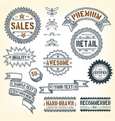 Hand drawn banners awards and frames vector