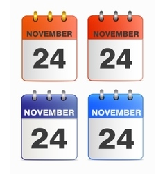 Icons of calendar with thanksgiving day vector