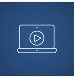 Laptop with play button on screen line icon vector image
