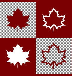 Maple leaf sign bordo and white icons and vector