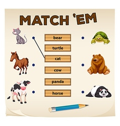 Matching game with cute animals vector image vector image
