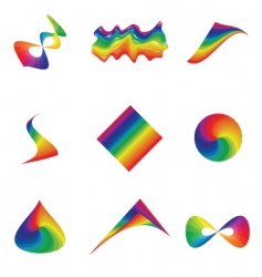 rainbow elements vector image vector image