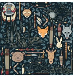 Seamless native american pattern with night landsc vector