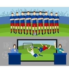Soccer team 2 flat banners set vector