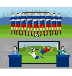 Soccer team 2 flat banners set vector image